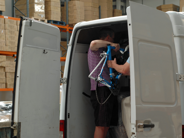 Dave loading the van.